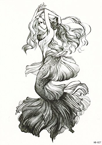 DaLin Large Temporary Tattoos, 4 Sheets (Mermaid Combing hair)