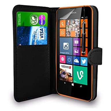 new product 9baad cb7a9 For Nokia Lumia 635 - Leather Wallet Flip Case Cover Pouch + Retractable  Touch Stylus Pen + Screen Protector & Polishing Cloth ( Black )