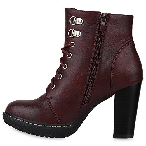 Damen Schnürstiefeletten Gefütterte Winterstiefel Worker Boots Profilsohle Schnürer Winterboots Blockabsatz Schuhe Stiefeletten High Heels Flandell Dunkelrot Avelar
