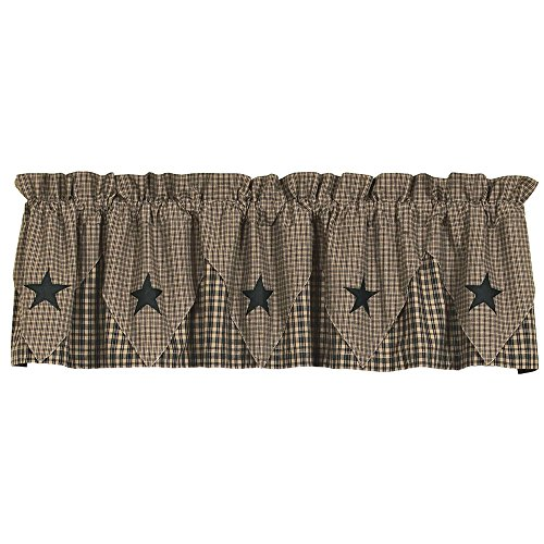 IHF HOME DECOR UNLINED POINTED WINDOW VALANCE VINTAGE STAR BLACK DESIGN 100% COTTON 60 X 16 INCHES CURTAINS - Decor Swag
