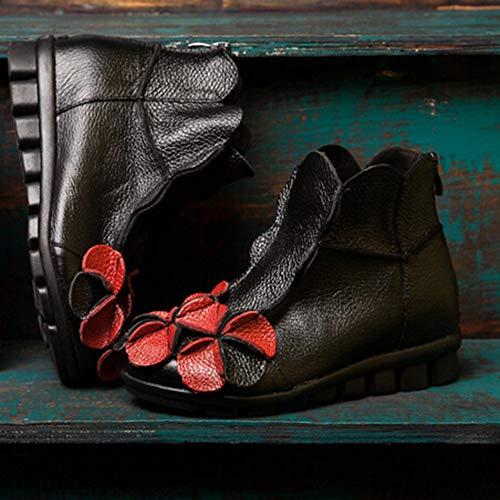 Fermeture Chaussures Main Pure Fleur Femme Yebiral Noir Fond Semelles Éclair Plates Mou Compensées Confortable Bottes À q8CwxETv