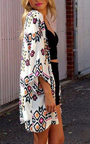 Bigood Manteau Femme Géométrie Imprimé Plage Kimono Mode