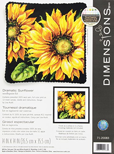 - Dimensions Needlepoint Kit, Dramatic Sunflower, 14'' x 14''
