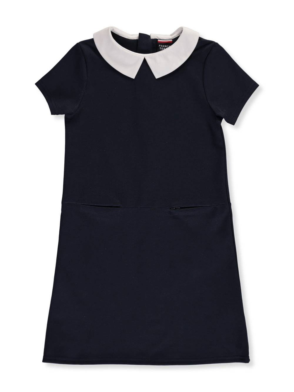 French Toast Girls' Big Stretch Woven Collar Dress, Navy, L (10/12)