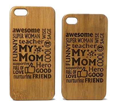 Awesome Mom iPhone 6 Case Cover. Mother Gift on Eco-Friendly Bamboo Wood. Moms Mommy Woman Wife Birthday Mother's Day Gift.