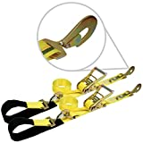 Vulcan Classic Yellow Ratcheting Axle Strap Tie Downs With Snap Hooks (2'' wide x 102'' long - 2 Pack)