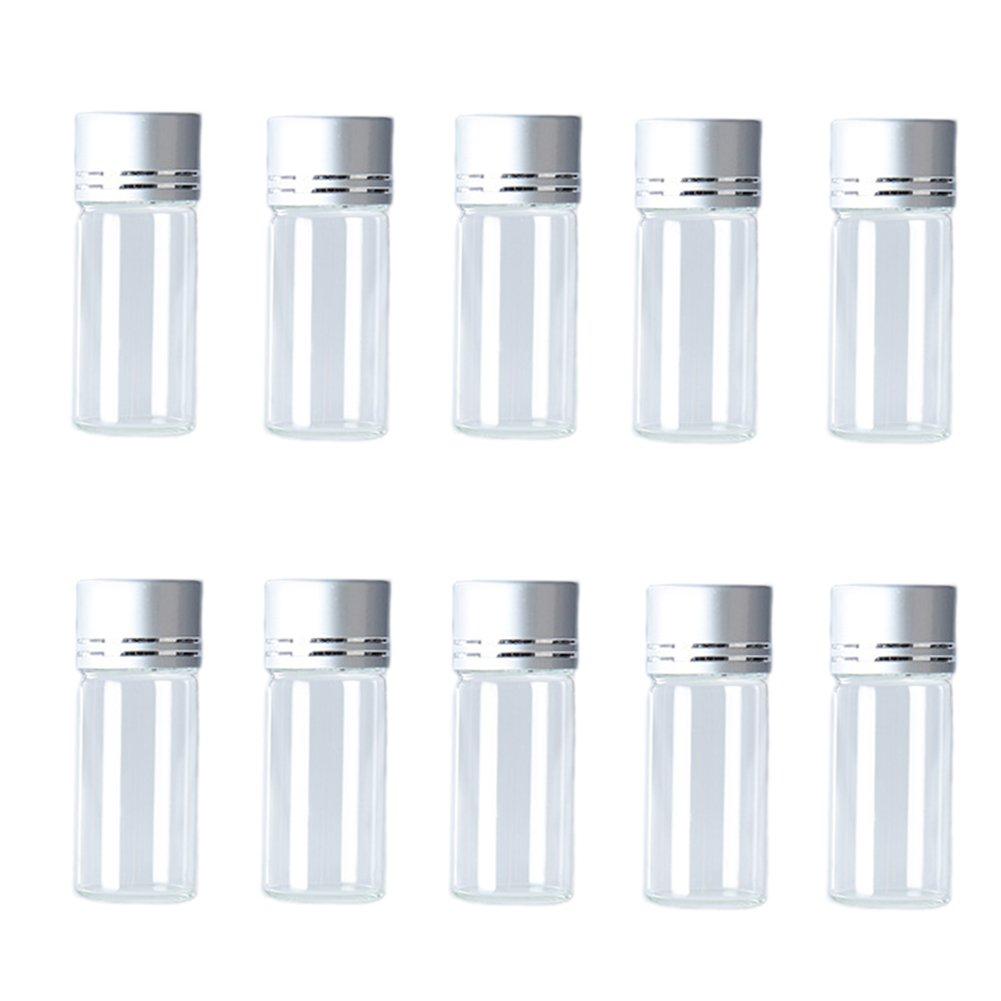 Hustar 10 Botellas de Vidrio Transparente Recargables DE 10 ML con Viales de Muestra Vacíos con Tapas de Rosca Plateadas