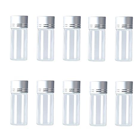 Hustar 10 Botellas de Vidrio Transparente Recargables DE 10 ML con Viales de Muestra Vacíos con