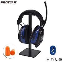 PROTEAR Wiederaufladbare Gehörschutz mit Radio FM/AM,Bluetooth,Eingebautem Mikrofon,für Industrie,Bau und Mähen Lärmreduzierung SNR 30dB
