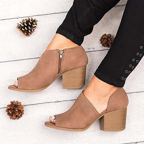 Women Brown Slip Side Peep Low Fashion On Toe Booties Maybest Faux Block Ankle Cuts Heel Suede Chunky dTaF1x4qqw