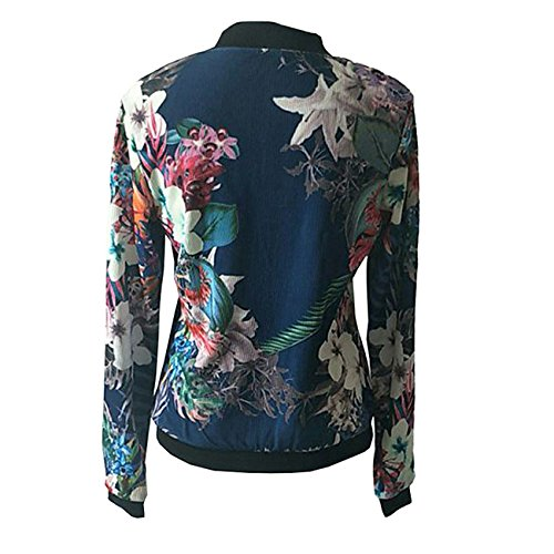 Rurah Women Floral Print long Sleeve Zip Front Jacket Cardigan Outwear Baseball Coat Tops ,Navy blue (Print Front Placket)