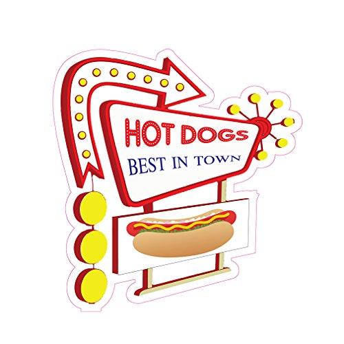 - Hotdogs Best In Town Concession Restaurant Food Truck Die-Cut Vinyl Sticker 18 inches