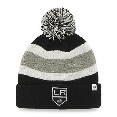 NHL Los Angeles Kings '47 Brand Breakaway Cuff Knit Hat with Pom, Black, One Size (Los Angeles Kings Hat 47)
