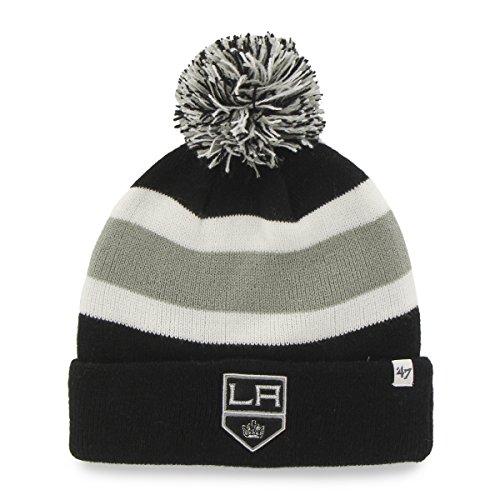 NHL Los Angeles Kings '47 Brand Breakaway Cuff Knit Hat with Pom, Black, One (Team Knit Beanie)