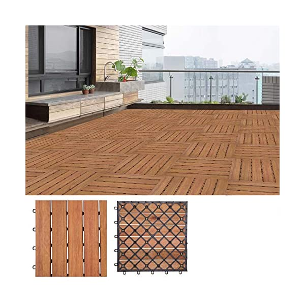 3m/² Fliese 30x30 cm Stecksystem Mosaik Zuschneidbar Terrasse Balkon Deuba 33x Holzfliesen Akazie FSC/®-zertifiziertes Akazienholz