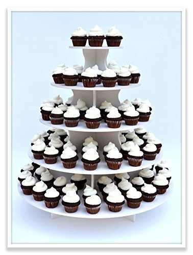 The Smart Baker 5 Tier Round Cupcake Stand PRO- Holds 90+ Cupcakes As Seen on Shark Tank Professional Cupcake Tower by The Smart Baker (Image #2)