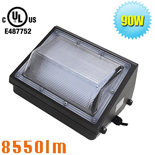 90W LED Wall Pack Light,Event Center Daylight 5000K Storage Fixture,320W MH/HPS/HID Replacement Basement Garage Lighting AC100-277V Input by Caree-LED