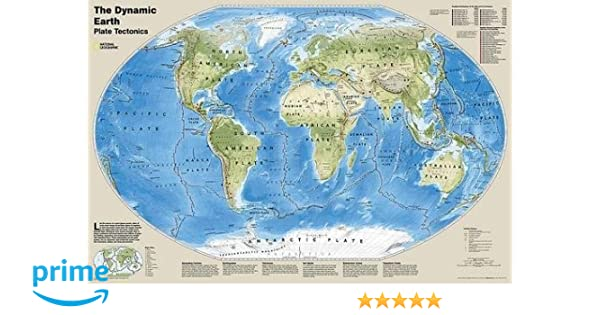 Geographic Map Of Earth.National Geographic The Dynamic Earth Plate Tectonics Wall Map