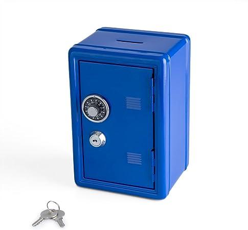 Balvi Hucha Money Bank Color Azul Caja de Seguridad con Doble Cerradura combinación y Llave Guarda Monedas, Billetes, Joyas y Objetos de Valor Material: Hierro: Amazon.es: Hogar