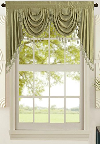 - All American Collection New Attached Solid Faux Silk Double Waterfall Valance with Tails