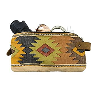 Large Guatemalan Native Comalapa Canvas and Leather All Purpose Dopp Kit Utility Bag (Cords, Chargers, Tools, School / Office Supplies) Handmade by Hide & Drink :: Sunset