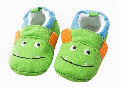 Happy Cherry Zapatos Zapatitos Mocasines de Algodón Suave Cómodo Primeros Pasos Diseño de Vaca para 3-6 Meses Bebés Niños Niñas Longitud 11cm Talla EU 18 -19 Verde Monstrutito