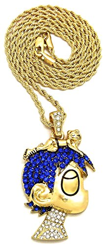 GWOOD L Uzi Small Cartoon Pendant with 24 Inch Necklace(Gold Color with Blue Stones with Rope Chain)