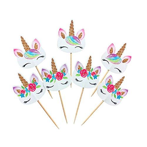 Price comparison product image Rainbow Unicorn Cupcake Toppers,  Unicorn Cupcake Toppers,  Baby Shower,  Unicorn Picks,  24,  48 (48)