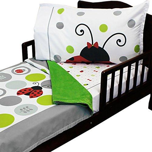 3pc RoomCraft Lucky Ladybugs Toddler Bedding Set Polka Dot Bugs Blanket Sheet and Pillowcase (Ladybug Toddler Bedding)