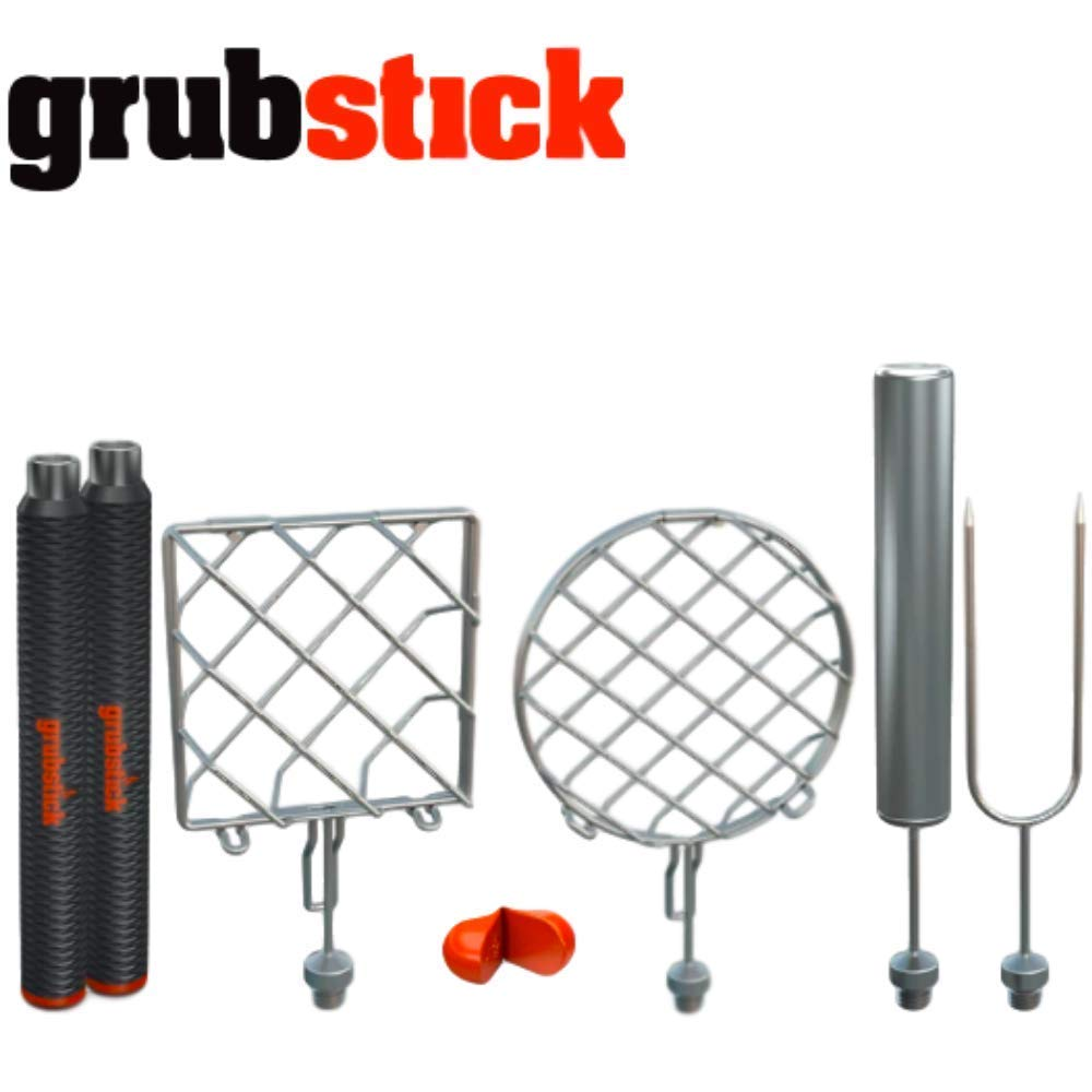 Grubstick | The Works 7 Piece Kit | 2 Telescopic Extendable Campfire Fireplace Sticks with 4 Attachments | Great for S'Mores, Hot Dogs and Hamburgers | Dishwasher Safe Heavy Duty Stainless Steel by Grubstick