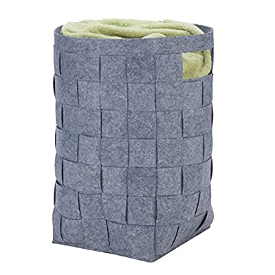 "Honey-Can-Do HMP-04888 Woven Felt Laundry Hamper, 16L x 23W x 16H, 16"" x 23"" x 16"", Dark Grey - A lightweight storage solution Includes cut-out handles for easy transport Hand-woven felt construction is durable - laundry-room, hampers-baskets, entryway-laundry-room - 51bf9PUUtEL. SS400  -"