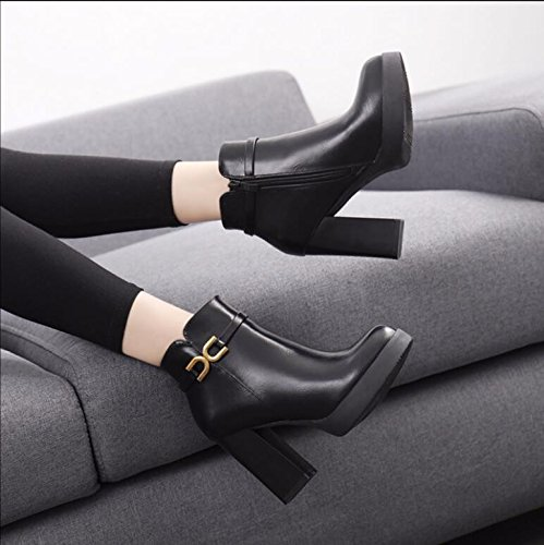 KHSKX-Black 10Cm Thick With High-Heeled Boots Winter Metal Decorative Waterproof Taiwan Female Boots Side Zipper Plus Velvet Cotton Boots 38 ZKqFQQ6
