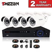 TMEZON HD-CVI 4 Channel 720P Realtime Recording 720p @ 30fps HDMI 1080P DVR Surveillance Security Camera System 4 x 1/3 1.0MP Color IR CCTV Outdoor Camera 3.6mm Lens Quick QR Code Smartphone Access
