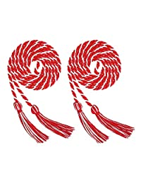 Volwco 2 Pieces Graduation Cords Polyester Yarn Honor Cord, Honor Cords, Graduation Cords, Honor Cord Tassels for Graduation Students, White and Red Graduation Cord