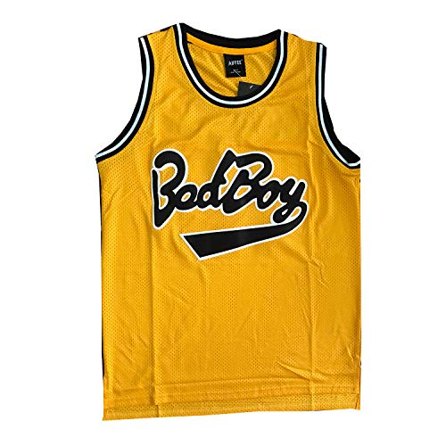 AIFFEE 'BadBoy' #72 Smalls Basketball Jersey S-XXXL Yellow, 90S Hip Hop Clothing for Party, Stitched Letters and Numbers (M)
