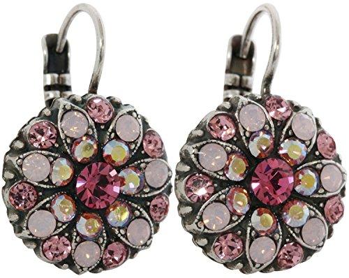 Mariana Silvertone Flower Blossom Crystal Earrings, Pink Ab Rose 1029 2230