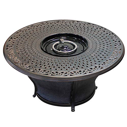 TK Classics FP KIT Charleston Round Cast Top Gas Fire Pit Table, 48