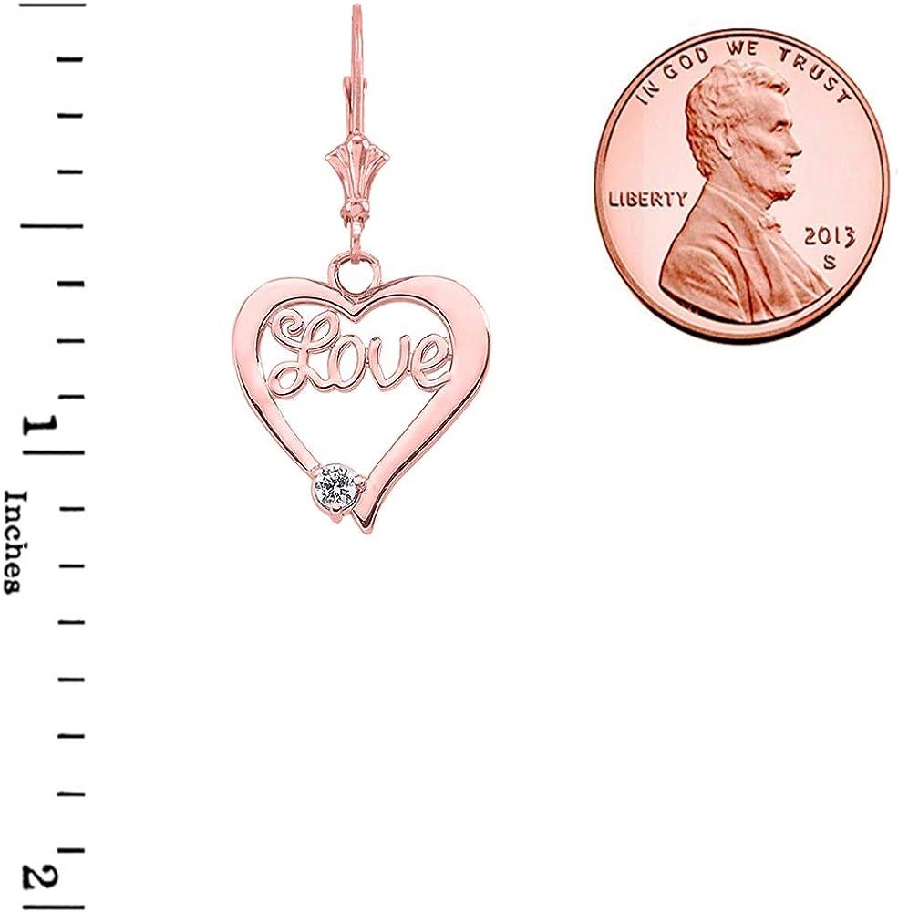 Elegant 14k Gold DiamondLove Script Open Heart Pendant Necklace and Earrings Set