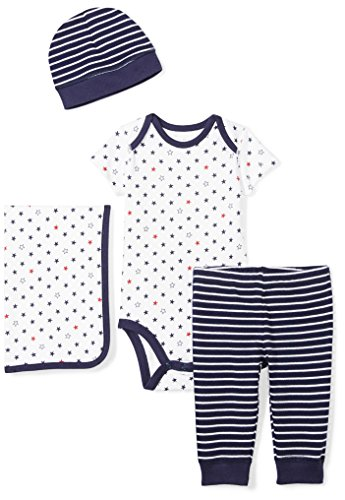 Moon and Back Baby Infant 4-Piece Organic Gift Set, Navy Sea, Newborn