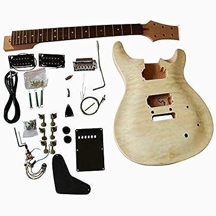 gd820 Caoba Cuerpo con acolchado Arce Chapa Top Guitarra Eléctrica Kit Construcción Set
