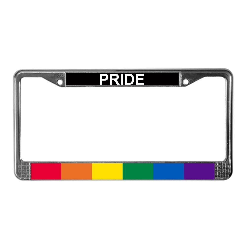 CafePress - Gay Pride License Plate Frame - Chrome License Plate Frame, License Tag Holder