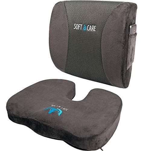 SOFTaCARE Seat Cushion Coccyx Orthopedic Memory Foam and Lumbar Support Pillow, Set of 2, Dark Gray (Best Lumbar Support Cushion)