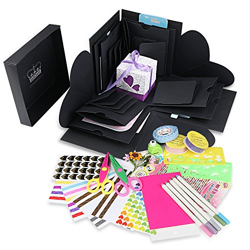 Explosion Box Scrapbook DIY Photo Album with 12 Funny Cards and 15 Kinds of DIY Accessories Kit Birthday Anniversary Valentine Wedding Gift (Hexagon Gift Box Craft)