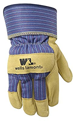 Wells Lamont 3300L Grain Leather Palm Work Gloves with Safety Cuff, Large