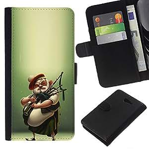 For Sony Xperia M2 Case , Scottish Bagpipe Player Kilt Man - la tarjeta de Crédito Slots PU Funda de cuero Monedero caso cubierta de piel