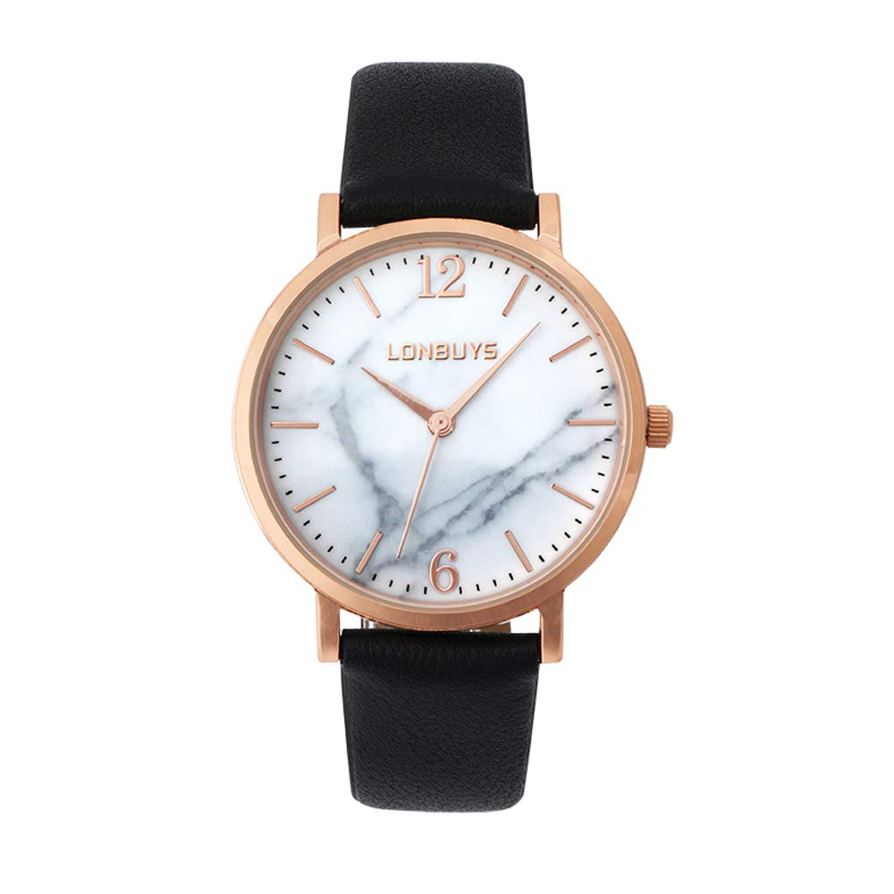 LONBUYS Women s Quartz Watch with Leather Strap,Waterproof Rose Gold Black Leather Band Wrist Watch Ladies Wristwatch for Dress Casual Business