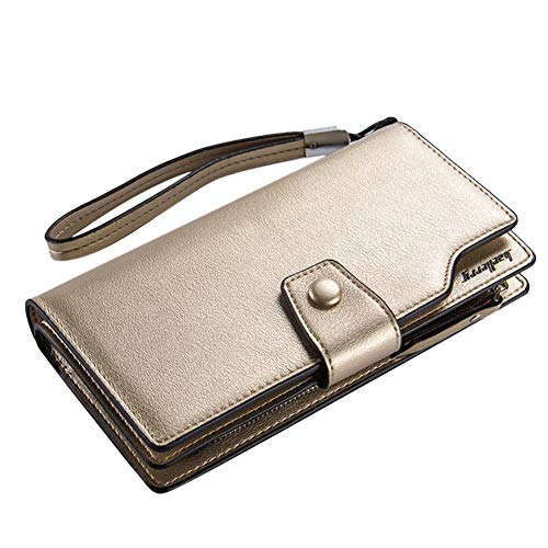 Wristlet Long Wallet Leather Women Zipper Phone Card Holder Purse Gold