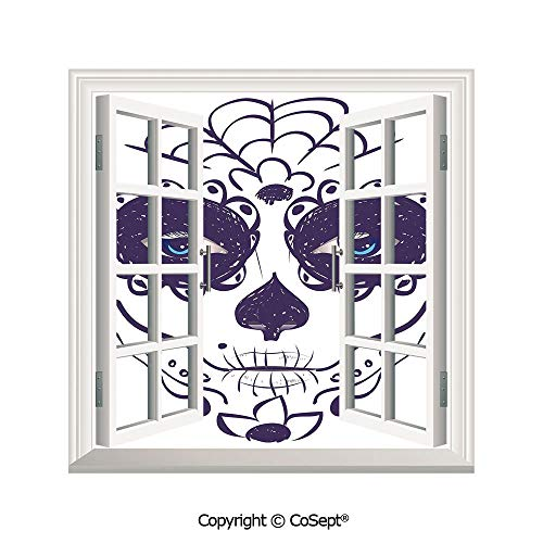 SCOXIXI Window Wall Sticker,Dia de Los Muertos Sugar Skull Girl Face with Mask Make up,3D Window View Decal Home Decor Deco Art (25.86x22.63 inch) ()