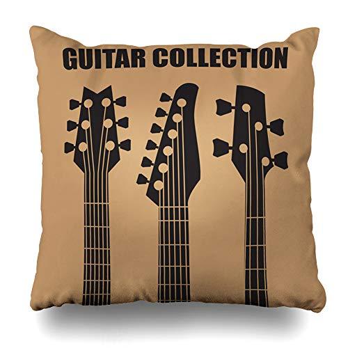 DIYCow Throw Pillow Cover Pillowcase Lessons Neck Guitars Music Classic Retro Electric Blues Bass Home Decor Design Square Size 18