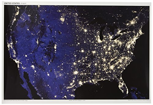 13x19 Anchor Maps United States at Night Poster - Impressive Satellite Photography of Numerous Light Sources (Cities, Fires, Oil Wells, etc.) in The Contiguous USA [Rolled]